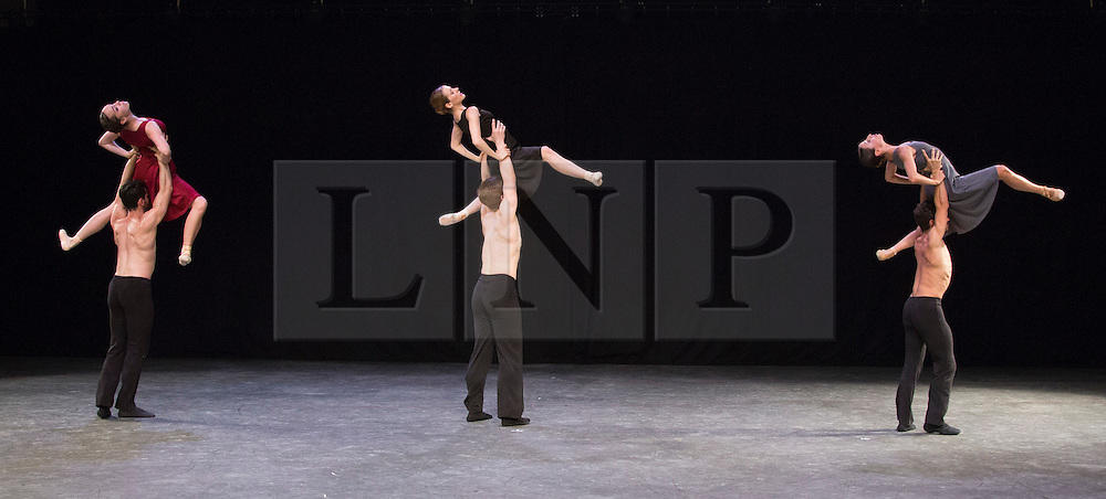 """© Licensed to London News Pictures. 07/08/2015. London, UK. """"Tangents"""" performed by L-R: Abigail Mattox, Gyorgy Baan, Alessia Lugoboni, Paul Oliver, Lorenzo Berardi and Simona Marsibilio.  Members of the New English Ballet Theatre rehearse their forthcoming performances for """"Dancing for Nepal"""" at the Clore Studio/Royal Opera House. From 20-22 August 2015, the New English Ballet Theatre and special guests will perform at St James Theatre to raise funds for the Nepal earthquake relief effort. Photo credit: Bettina Strenske/LNP"""