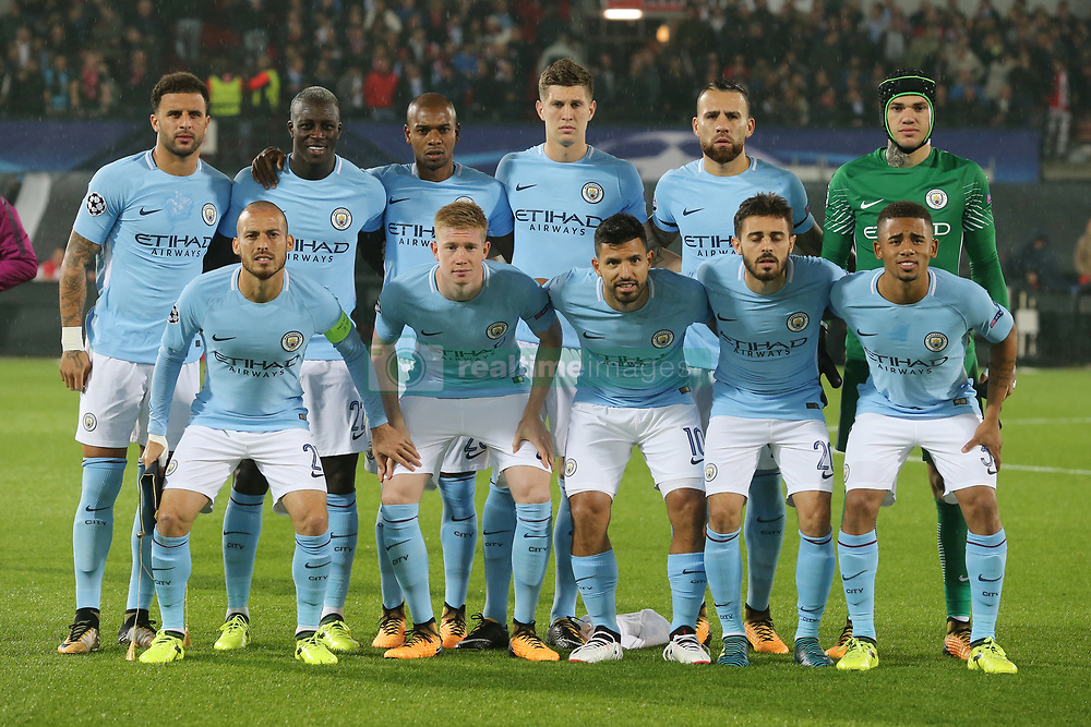 (top row L-R) Kyle Walker of Manchester City, Benjamin Mendy of Manchester City, Fernandinho Luiz Roza of Manchester City, John Stones of Manchester City, Nicolas Otamendi of Manchester City, goalkeeper Ederson Moraes of Manchester City<br />