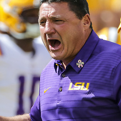 Oct 14, 2017; Baton Rouge, LA, USA; LSU Tigers head coach Ed Orgeron before a game against the Auburn Tigers at Tiger Stadium. Mandatory Credit: Derick E. Hingle-USA TODAY Sports
