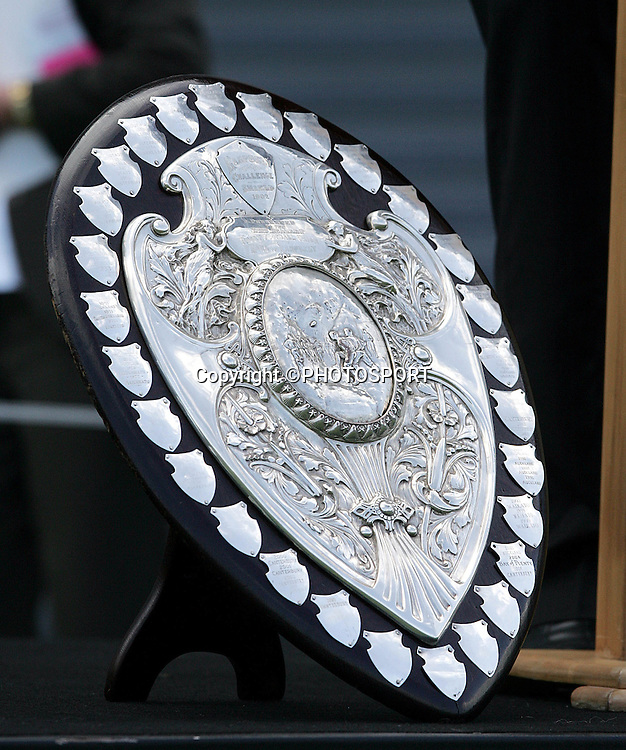 The Ranfurly Shield on show during the street parade for the North Habour Air NZ Cup team who won the Ranfurly Shield last weekend, at North Harbour Stadium, Albany, on Thursday 28 September 2006. Photo: Tim Hales/PHOTOSPORT<br />