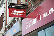 Britannia Building Society branch sign on typical British high street, Felixstowe, Suffolk, England