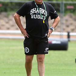 DURBAN, SOUTH AFRICA, 29 January 2016 -  Gary Gold (Sharks Director of Rugby)  during The Cell C Sharks Pre Season training for the 2016 Super Rugby Season at Growthpoint Kings Park in Durban, South Africa. (Photo by Steve Haag)<br /> images for social media must have consent from Steve Haag