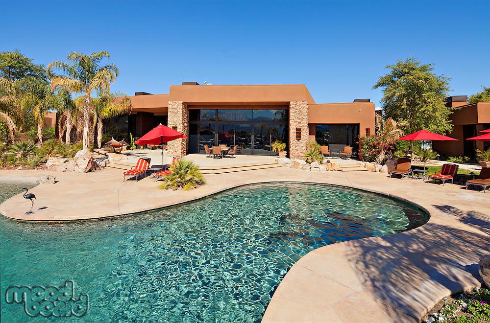 Luxurious swimming pool outside villa