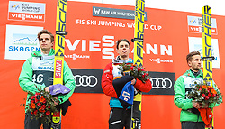 12.03.2017, Holmenkollen, Oslo, NOR, FIS Weltcup Ski Sprung, Raw Air, Oslo, im Bild Andreas Wellinger (GER, 2. Platz), Sieger Stefan Kraft (AUT), Markus Eisenbichler (GER, 3. Platz) // 2nd placed Andreas Wellinger of Germany, Winner Stefan Kraft of Austria, 3rd placed Markus Eisenbichler of Germany  //  during the 1st Stage of the Raw Air Series of FIS Ski Jumping World Cup at the Holmenkollen in Oslo, Norway on 2017/03/12. EXPA Pictures © 2017, PhotoCredit: EXPA/ Tadeusz Mieczynski