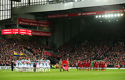 Both teams take part in a minutes silence before kick off - Mandatory by-line: Matt McNulty/JMP - 28/10/2017 - FOOTBALL - Anfield - Liverpool, England - Liverpool v Huddersfield Town - Premier League
