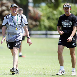 DURBAN, SOUTH AFRICA - FEBRUARY 23: (L) Gary Gold (Sharks Director of Rugby) (R) Brendan Venter during the Cell C Sharks training session at Growthpoint Kings Park on February 23, 2015 in Durban, South Africa. (Photo by Steve Haag/Gallo Images)