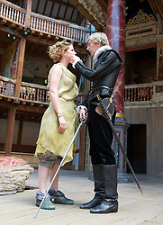 The Tempest By William Shakespeare, The Globe Theatre, London, Great Britain..Directed by Jeremy Herrin, designed by Max Jones, music by Stephen Warbeck..Jessie Buckley.Miranda..Joshua James .Ferdinand, on April 26, 2013, on April 29, 2013. Photo by Elliott Franks / i-Images. .