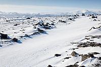 A Land Rover Defender parked near Canyon Markafljotsgljufur. Glacier Eyjafjallajokull in background.<br /> <br /> Land Rover Defender ofan við Markarfljótsgljúfur. Eyjafjallajökull í baksýn.
