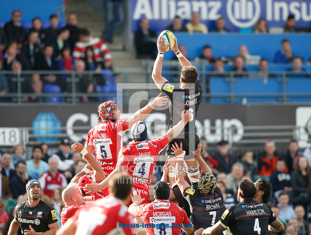 Ernst Joubert (R) of Saracens takes a lineout from Tom Palmer (5) of Gloucester during the Aviva Premiership match at Allianz Park, London<br /> Picture by Andrew Tobin/Focus Images Ltd +44 7710 761829<br /> 11/10/2014