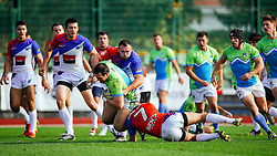 Tit Hocevar of Slovenia during rugby match between National team of Slovenia (green-blue) and Serbia (red-white) at EUROPEAN NATIONS CUP 2016-17, Conference 2, South, on October 29, 2016, at ZAK Stadium, Ljubljana, Slovenia. Photo by Matic Klansek Velej / Sportida.com