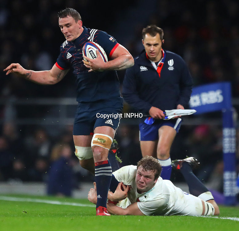 RBS 6 Nations Championship Round 1, Twickenham, London, England 4/2/2017<br /> England vs France<br /> France's Louis Picamoles and Joe Launchbury of England<br /> Mandatory Credit &copy;INPHO/James Crombie