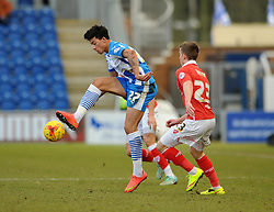 Colchester United's Macauley Bonne is closed down by Bristol City's Joe Bryan - Photo mandatory by-line: Dougie Allward/JMP - Mobile: 07966 386802 - 21/02/2015 - SPORT - Football - Colchester - Colchester Community Stadium - Colchester United v Bristol City - Sky Bet League One