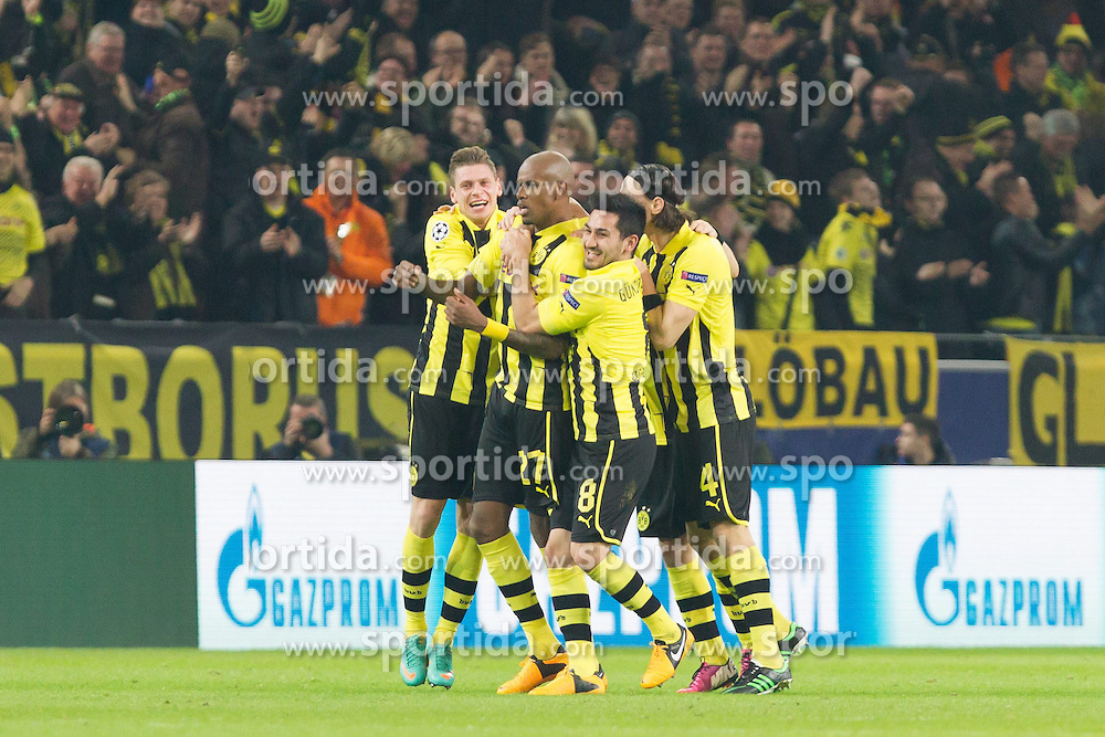 05.03.2013, Signal Iduna Park, Dortmund, GER, UEFA Champions League, Borussia Dortmund vs FC Shakhtar Donetsk, Achtelfinale Rueckspiel, im Bild Felipe SANTANA (Borussia Dortmund) bejubelt mit Lukasz PISZCZEK (Borussia Dortmund), Ilkay GUENDOGAN (Borussia Dortmund) und Neven SUBOTIC (Borussia Dortmund) das 1:0, Torjubel/ Jubel, Emotionen // during the UEFA Champions League last sixteen second legmatch between Borussia Dortmund and FC Shakhtar Donetsk at the Signal Iduna Park, Dortmund, Germany on 2013/03/05. EXPA Pictures © 2013, PhotoCredit: EXPA/ Eibner/ Alexander Neis..***** ATTENTION - OUT OF GER *****