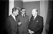 24/03/1966<br /> 03/24/1966<br /> 24 March 1966<br /> Reception at the Shelbourne Hotel for speakers at the Symposium on &quot;Shock&quot; sponsored by Pharmacia International held at UCD. Image shows (l-r): Dr U.F. Gruber, M.D., Switzerland; Dr H. Hint, M.D., Sweden, both of whom presented papers and Professor P. FitzGerald, M.D., M.Ch., M.Sc., F.R.C.S.I. who chaired the event.