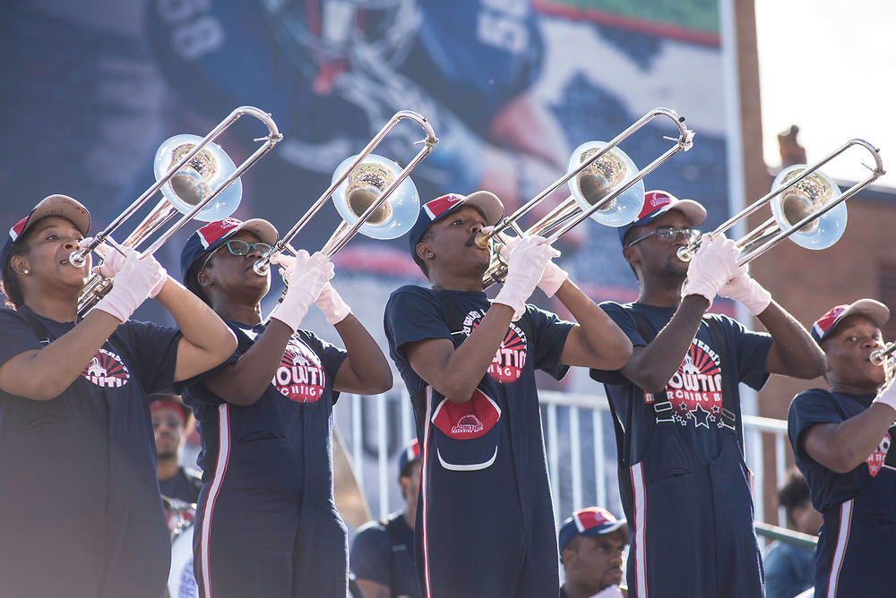 WASHINGTON,DC - October 7, 2017: The trombone section lets go during the second half.<br /> Howard University's Showtime Marching Band is part of a long tradition of outstanding bands at HBCU's. The band practices in the days leading up to a home game against North Carolina Central. (Andr&eacute; Chung for The Undefeated)