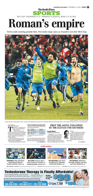 "Seattle Times Page: ""Roman's empire"" (Sunday, December 11, 2016, C1)."