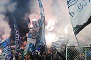 &Ouml;STERSUND, SWEDEN - 2017-09-28: Fans till Hertha Berlin br&auml;nner pyroteknik under UEFA Europa League group J matchen mellan &Ouml;stersunds FK och Hertha Berlin SC p&aring; J&auml;mtkraft Arena den 28 September, 2017 in &Ouml;stersund, Sweden. Foto: Nils Petter Nilsson/Ombrello<br /> ***BETALBILD***