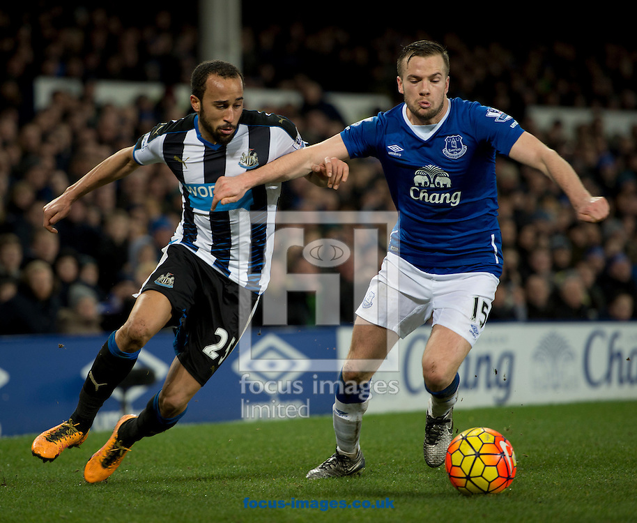Andros Townsend of Newcastle United (left) and Tom Cleverley of Everton challenge for the ball during the Barclays Premier League match at Goodison Park, Liverpool<br /> Picture by Russell Hart/Focus Images Ltd 07791 688 420<br /> 03/02/2016