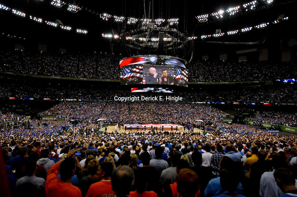 Apr 2, 2012; New Orleans, LA, USA; Recording artist The Fray perform the national anthem before the start of the finals of the 2012 NCAA men's basketball Final Four between the Kansas Jayhawks and Kentucky Wildcats at the Mercedes-Benz Superdome. Mandatory Credit: Derick E. Hingle-US PRESSWIRE