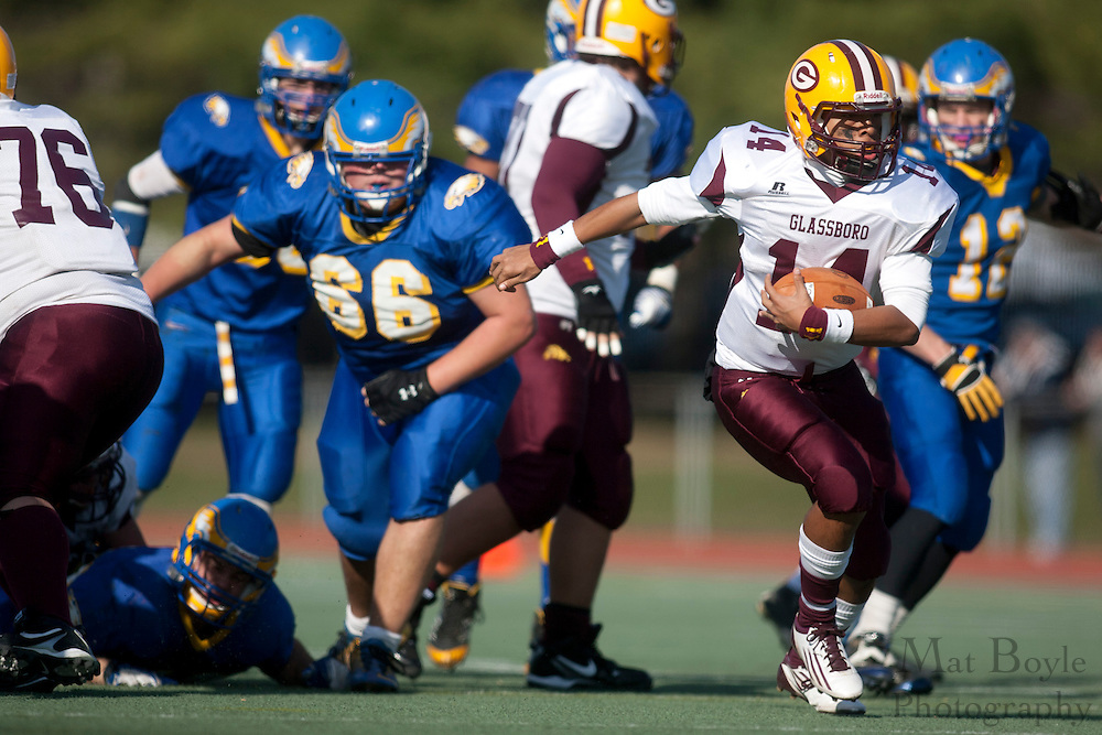 Glassboro High School's Michael Gillespie (14)..NJSIAA South Jersey Group 1 Title match between Pennsville High School and Glassboro High School held at Coach Richard Wacker Stadium on the campus of Rowan University in Glassboro, NJ on Saturday, December 3, 2011. (photo: Mat Boyle)