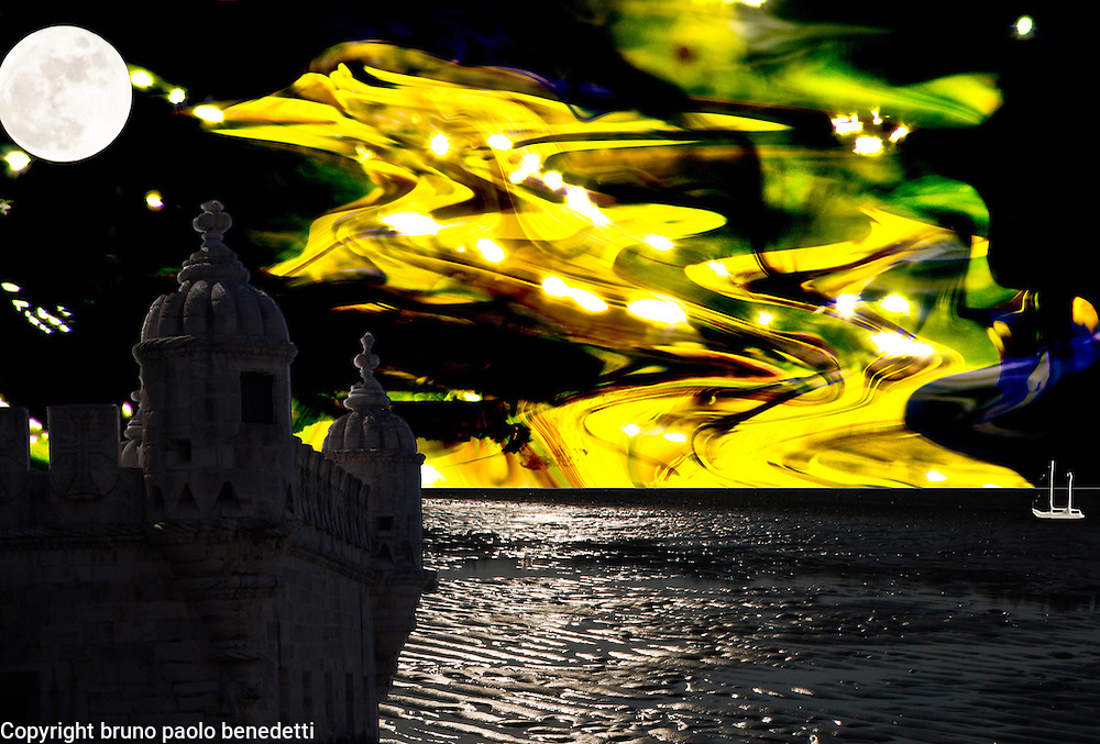 shining night made by a fortress on a surreal sea with a multicolored sky with many lights and dream colors with many shades and transparencies
