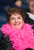 KELOWNA, CANADA, NOVEMBER 5: A fan wears pink in support of Cancer fundraising night at the Kelowna Rockets as the Portland Winterhawks visit the Kelowna Rockets  on November 5, 2011 at Prospera Place in Kelowna, British Columbia, Canada (Photo by Marissa Baecker/Shoot the Breeze) *** Local Caption ***