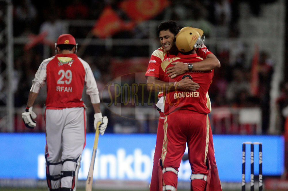 DURBAN, SOUTH AFRICA - 1 May 2009. Anil Kumble celebrates a wicket with Mark Boucher during the IPL Season 2 match between Kings X1 Punjab and the Royal Challengers Bangalore held at Sahara Stadium Kingsmead, Durban, South Africa....