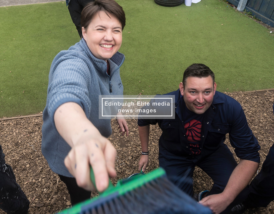 The Scottish Conservatives launch their manifesto for the Local Government elections on the 4th of May.<br /> <br /> The manifesto - entitled 'Localism for Growth' - will set out the party's plan to oppose a second referendum on independence, and reverse a decade of SNP centralisation.<br /> <br /> Pictured: Ruth Davidson and Miles Briggs painting a wall of a community playground during the launch of the manifesto