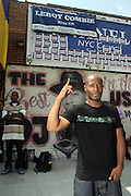 Raheem Bey(Cold Crush Brothers) at 205th and Hollis for the official renaming of 205th Street to RUN-DMC JJ Way in Hollis Queens, NY on August 30, 2009..A project of Councilman Leroy Comrie, 205th street in Hollis, Queens was named after the famed Icon Rap Group, RUN-DMC, with special comments made by various community and civic leaders. This renaming marks the first time in the country that a street  is named after a Hiphop Group.