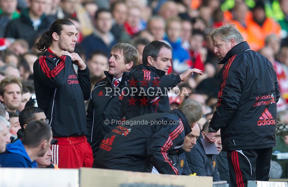 LIVERPOOL, ENGLAND - Sunday, March 6, 2011: Liverpool's Andy Carroll prepares to make his debut during the Premiership match against Manchester United at Anfield. (Photo by David Rawcliffe/Propaganda)