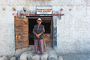 Portrait of the owner of Nawang Tsering Shop in Thiksay, Ladakh