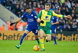 LEICESTER, ENGLAND - Saturday, February 27, 2016: Leicester City's Riyad Mahrez in action against Norwich City's Jonathan Howson during the Premier League match at Filbert Way. (Pic by David Rawcliffe/Propaganda)