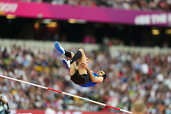 London, August 13 2017 . Majd Eddin Ghazal, Syria, in the men's high jump final on day ten of the IAAF London 2017 world Championships at the London Stadium. © Paul Davey.