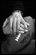 A portrait of the hands of NFL Legend and Hall of Fame quarterback Johnny Unitas.<br /> <br /> MANDATORY CREDIT: M David Leeds