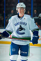PENTICTON, CANADA - SEPTEMBER 8: Kole Lind #78 of Vancouver Canucks warms up against the Winnipeg Jets on September 8, 2017 at the South Okanagan Event Centre in Penticton, British Columbia, Canada.  (Photo by Marissa Baecker/Shoot the Breeze)  *** Local Caption ***