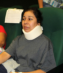 August 1, 2018 - Durango, Mexico - Passenger MARIA GUADALUPE HERRERA,  wearing a brace talks about surviving the plane crash.  An Aeromexico flight carrying 103 people crashed just after taking off from an airport in northwestern Mexico. Passengers escaped via emergency slides before the aircraft went up in flames. No one died.(Credit Image: © El Universal via ZUMA Wire)