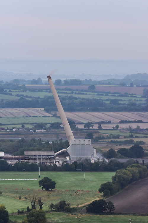Westbury, The White Horse, and the falling of the Cement Works Chimney.