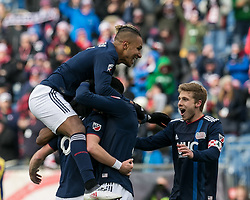 March 10, 2018 - Foxborough, Massachusetts, USA - Foxborough, Massachusetts - March 10, 2018: In a Major League Soccer (MLS) match, New England Revolution (blue/white) defeated Colorado Rapids (yellow/blue), 2-1, at Gillette Stadium..Chris Tierney scored game winning goal in extra time. Players celebrate game victory. (Credit Image: © Andrew Katsampes/ISIPhotos via ZUMA Wire)