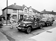A van that had been hijacked by John O'Grady's kidnappers being towed away by the Garda Technical Squad for forensic examination. Twenty-one days after being kidnapped from his home in Cabinteely, County Dublin, John O'Grady was rescued by Gardaí from a house in Cabra West, Dublin. During his ordeal Mr O'Grady was mutilated by the kidnappers, led by Dessie O'Hare, to apply pressure on his family to pay a ransom. In an ensuing gun battle with the kidnappers, a detective garda was shot and seriously wounded.<br /> 5 November 1987