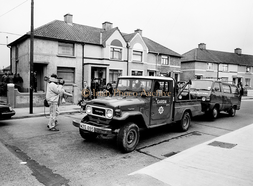 A van that had been hijacked by John O'Grady's kidnappers being towed away by the Garda Technical Squad for forensic examination. Twenty-one days after being kidnapped from his home in Cabinteely, County Dublin, John O'Grady was rescued by Gardaí from a house in Cabra West, Dublin. During his ordeal Mr O'Grady was mutilated by the kidnappers, led by Dessie O'Hare, to apply pressure on his family to pay a ransom. In an ensuing gun battle with the kidnappers, a detective garda was shot and seriously wounded.<br />