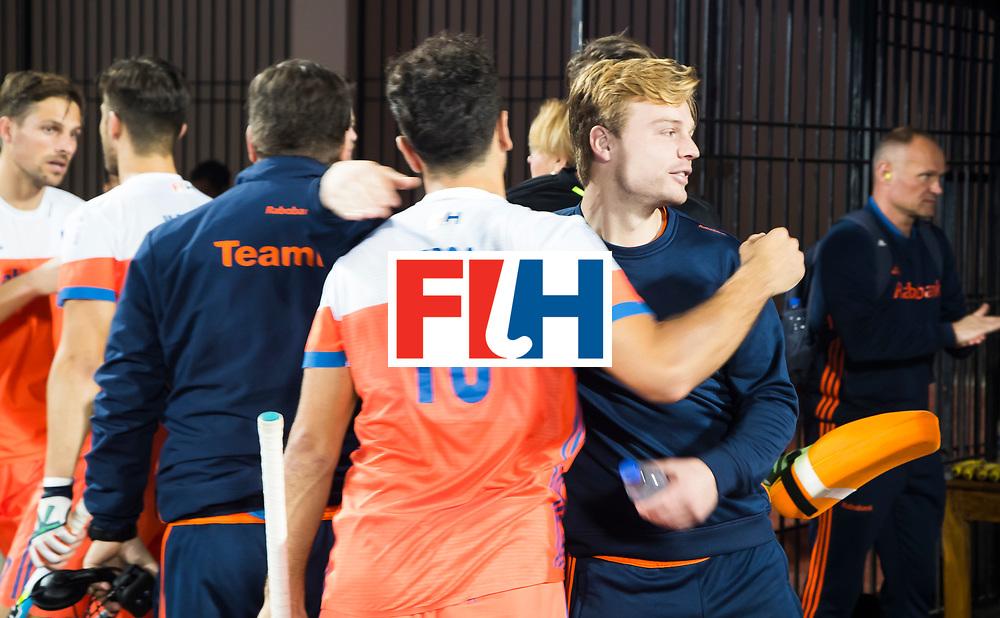 BHUBANESWAR -  Mink van der Weerden (Ned) tijdens de Hockey World League Finals , de kwartfinale wedstrijd Duitsland-Nederland (3-3).Duitsland wint na shoot-outs.    COPYRIGHT KOEN SUYK