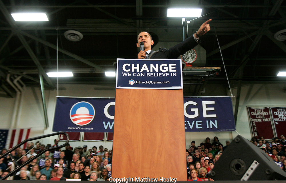 "Democratic candidate for president Senator Barack Obama (D-IL) addresses the crowd during his famous ""Yes We Can"" speech at the Concord High School gymnasium in Concord, New Hampshire on January 7, 2008.  Photo by Matthew Healey"
