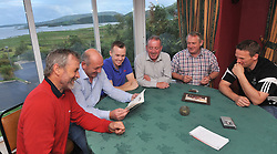 Members of Tourmakeady gathered in M&aacute;ire Luke's Tourmakeady to talk about the club's history recently pictured from left Tommie Heneghan, Brian Gibbons, Brain Naughton, Michael John Casey, Frank Lally and Brendan Prendergast.<br /> Pic Conor McKeown