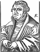Martin Luther (1483-1546) German Protestant reformer. After woodcut by Cranach (1546).