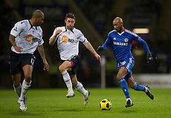 BOLTON, ENGLAND - Monday, January 24, 2011: Chelsea's Nicolas Anelka in action against Bolton Wanderers during the Premiership match at the Reebok Stadium. (Photo by David Rawcliffe/Propaganda)