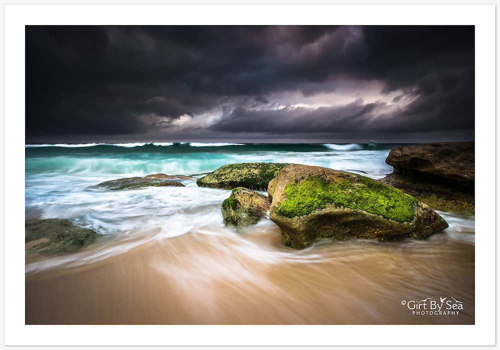 Starting the day under a heavy blanket of cloud. [Tamarama, Sydney, NSW, Australia].<br />