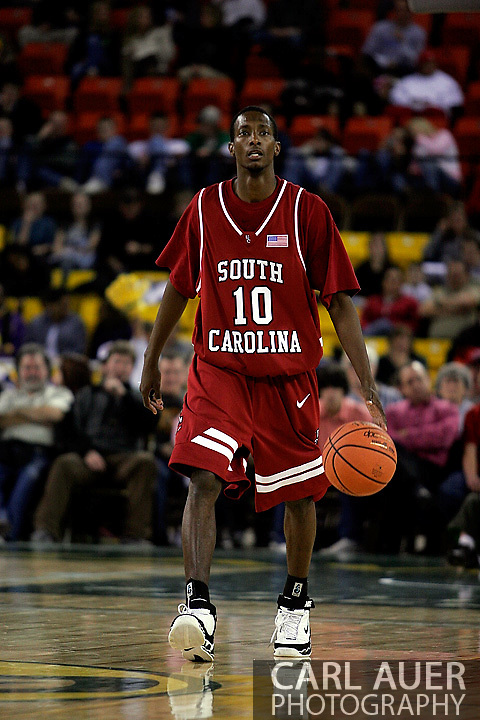 24 November 2005: Senior forward Rocky Trice (10) of South Carolina brings the ball down the court in the Gamecock's 65 - 60 victory over the University of Alaska Anchorage Seawolves in the first round of the Great Alaska Shootout at the Sullivan Arena in Anchorage Alaska.