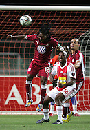 Lefa Tsutsulupa beats Sifiso Vilakazi to the cross during the PSL match between Ajax Cape Town and Moroka Swallows held at Newlands Stadium in Cape Town, South Africa on 28 October 2009..Photo by Ron Gaunt/SPORTZPICS
