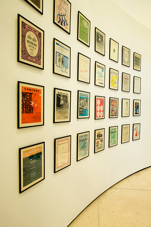 "A display of sheet music for compositions by Leonard Bernstein, much f it for the theater and film, with ""Tonighy"" from West Side Story prominently in the foreground."