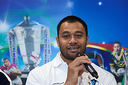 © Licensed to London News Pictures . 26/10/2012 . Salford , UK . Tony Puletua of Somoa . Press conference marking a one year countdown to the start of the 2013 Rugby League World Cup , which is being hosted by England and Wales . Photo credit : Joel Goodman/LNP